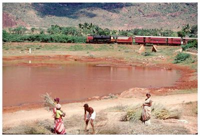 South India train and pond