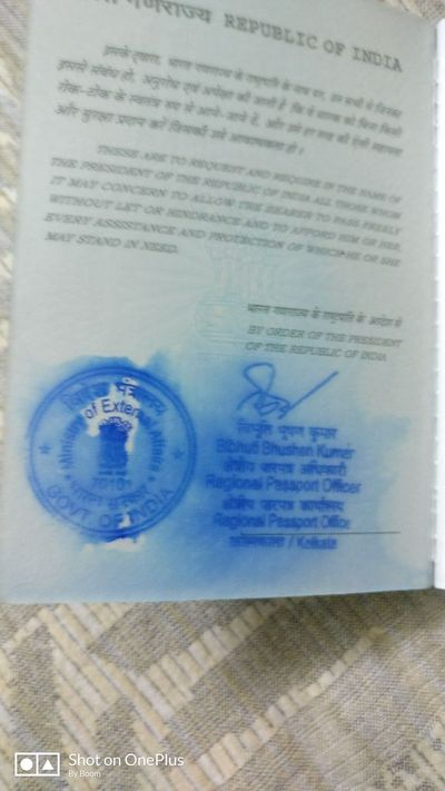 Water Smear on Passport Stamp