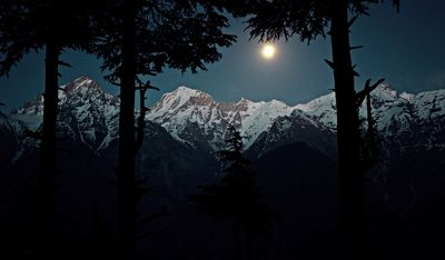 Full moon over Kinnaur Kailash Range from Kalpa !