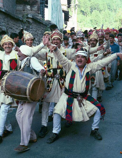 Happy men on parade,  Chamba