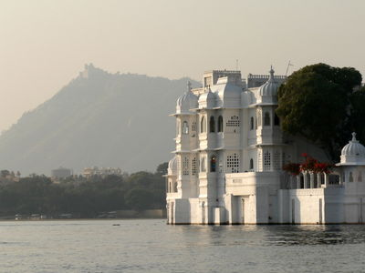 Lake Palace in front of Monsoon Palace, Udaipur