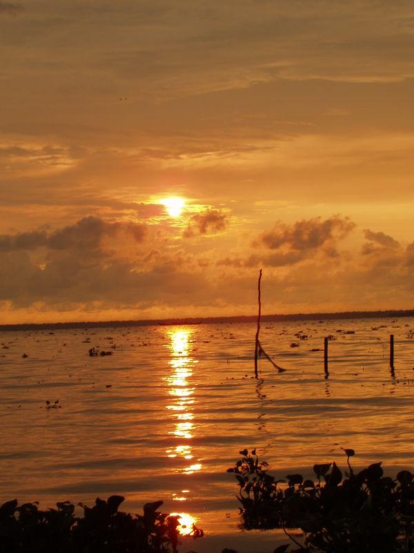 Sunset over Kumarakom lake