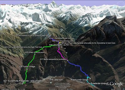 Our Nanda-Devi trek route on Google Image