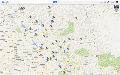 Himachal Pradesh tourist destinations with HPTDC properties, Google Map vie...