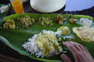 Food on the houseboat in kerela