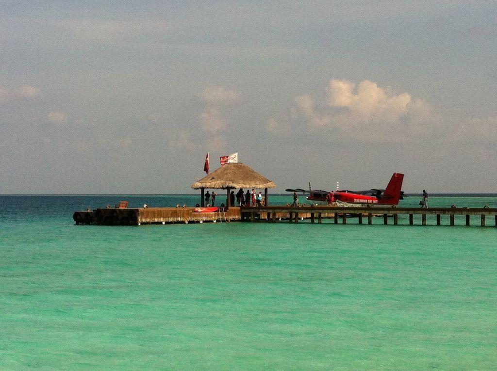 Seaplane landing in the Maldives