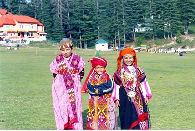 city kids in traditional dress