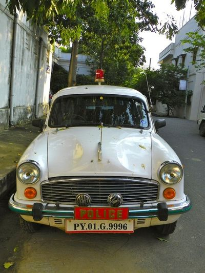 A police car in Pondicherry, India