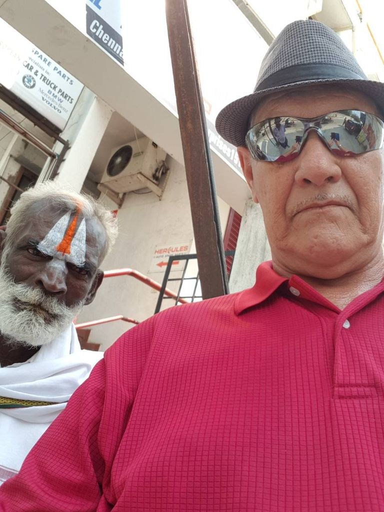 Selfie with interesting person in background