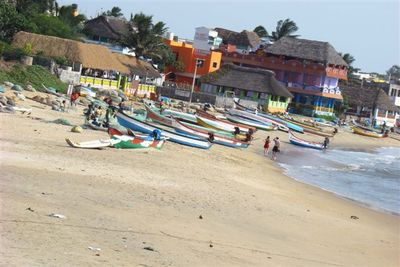 Mahabalipuram Beach Boats and Colourful Hotels