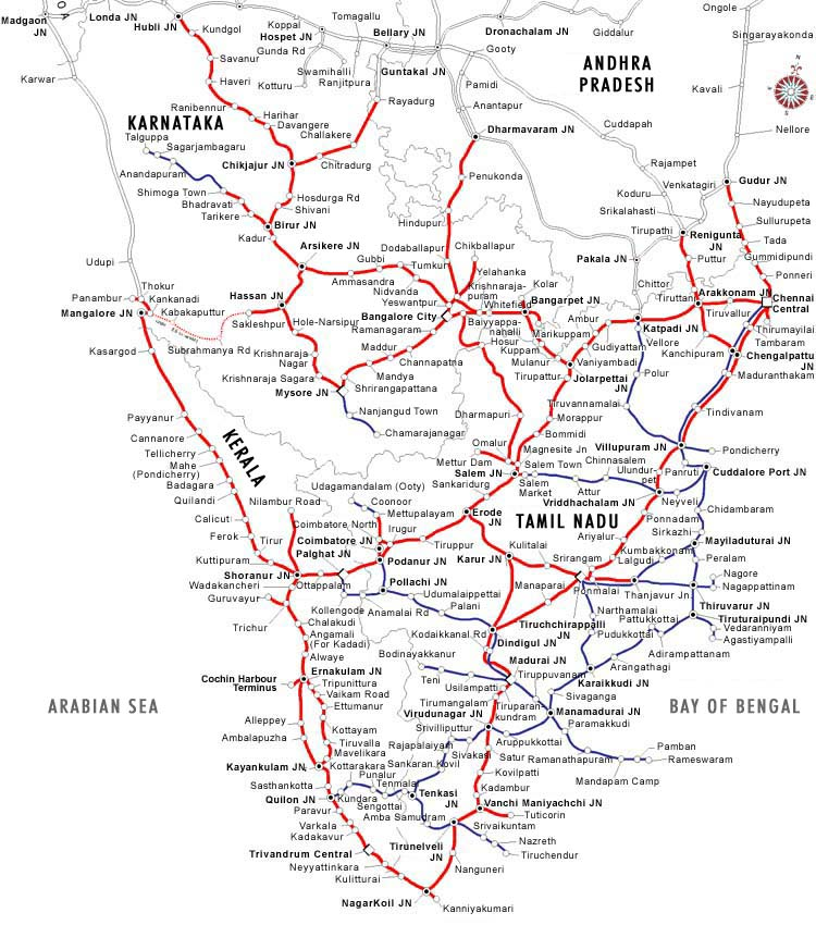 India Travel   Pictures: Southern region railmap