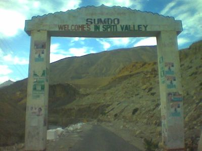 Signboard : Welcome to Spiti Valley