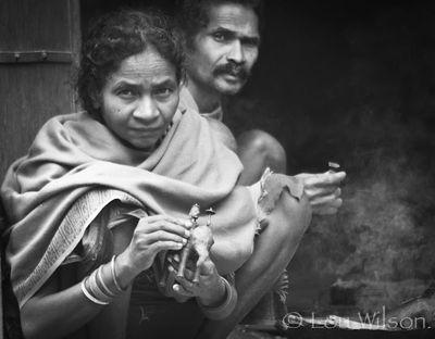 Tribal Couple Selling Handicrafts