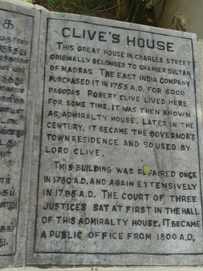 History Clive House Fort-St.George Chennai