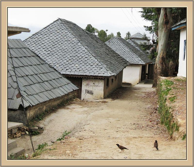 Slate Roof Houses Narash Village Himachal India