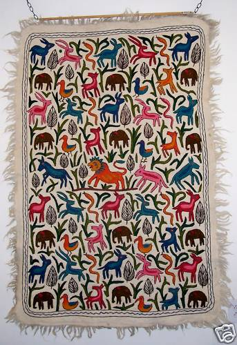 Arty Unique Embroidery Wool Rug Kashmir