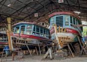 Houseboat Restoration by Lou Wilson.  Tags: alleppey kerala south india, houseboat, restoration.