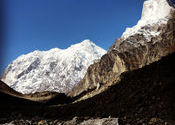 Mt. Chaukhamba and Mt. Balakun from Chakratirtha by SayanBanerjee.  Tags: Uttarakhand, Uttarakhand, Badrinath, satopanth tal, chaukhamba, balakun, chakratirtha.