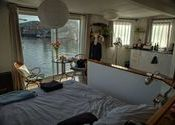 View from houseboat in Amsterdam by nadreg.  Tags: Amsterdam, houseboat.