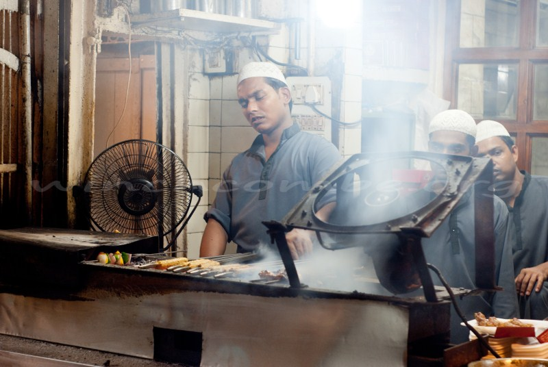 Cooking kebabs at Karim's