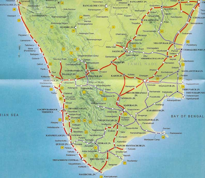 Southern Railway Map India Travel Forum IndiaMikecom