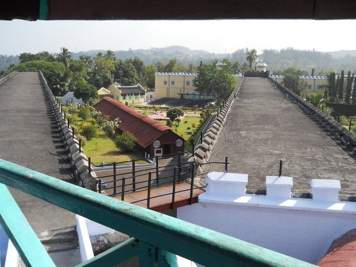 view from the roof tower of cellular jail andaman