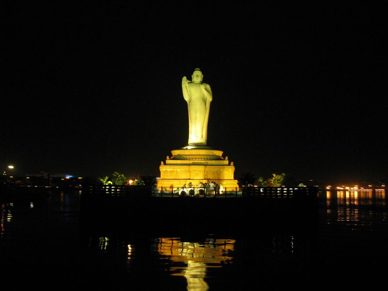 Statue Of Buddha At Hussain Sagar Lake Hyderabad India
