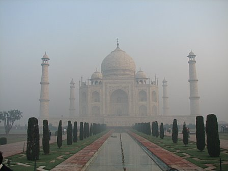 Taj mahal on a foggy winter morning