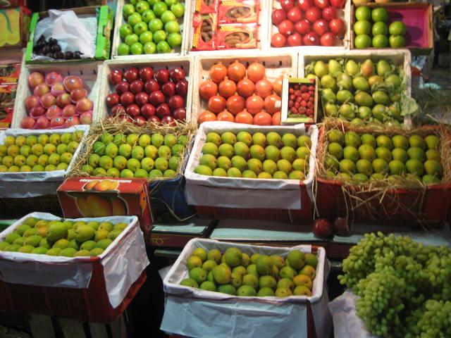 Fruit stall in Crawford market Mumbai 2008