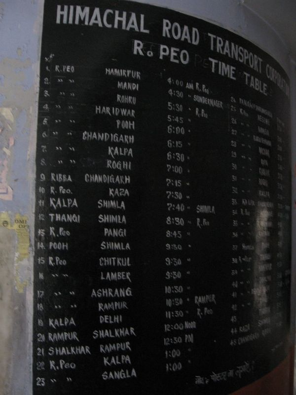 Bus time table at reckong peo hp may 5 2010 india for Table 52 go bus