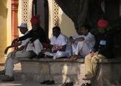 Guards relaxing - City Palace in Jaipur by ThierryBxl.  Tags: Jaipur, Rajasthan, People and Faces, Jaipur City Palace, city palace, palace.