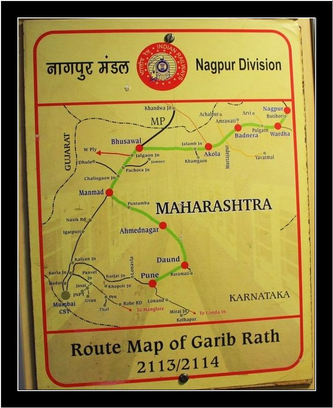 Route Map of 2113 / 2114 Nagpur <--> Pune Garib Rath Express Train