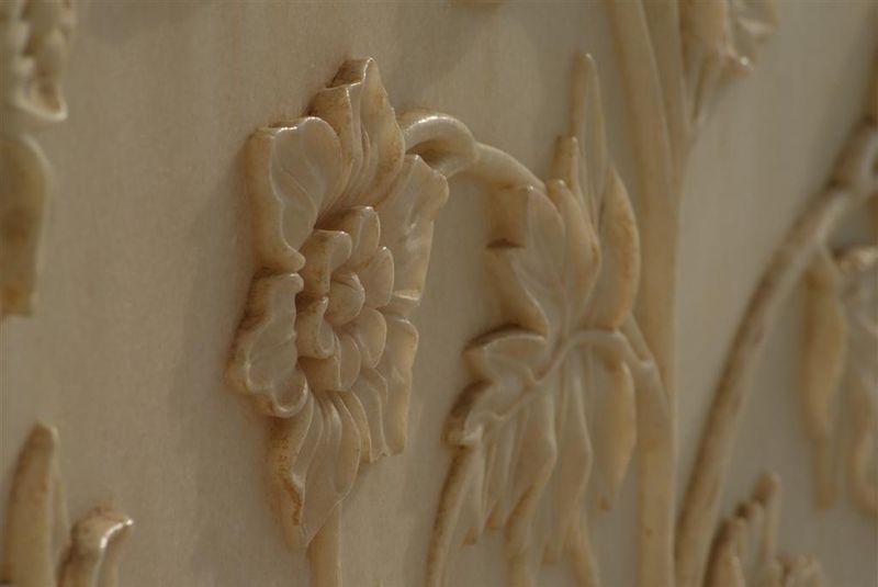 Taj Mahal Marble Wall Carving Close Up India Travel