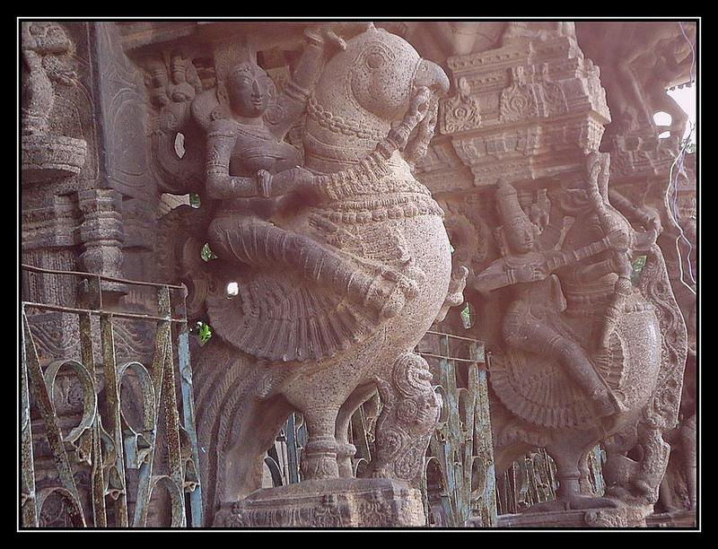Carvings of rathi manmatha on parrots godess god