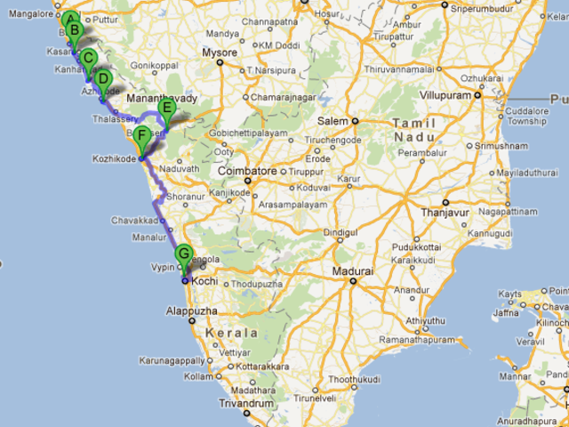 The route of the 2011 journey to Malabar