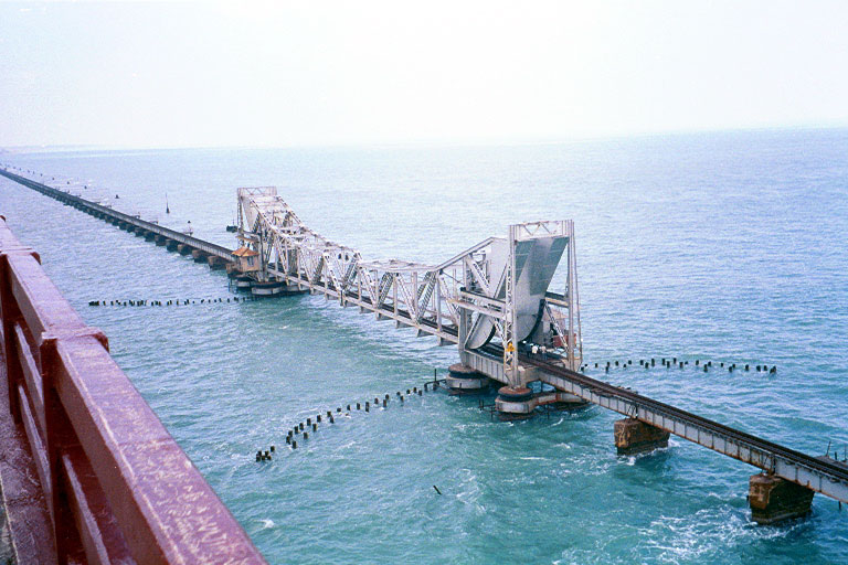 India's only rail bridge on open sea