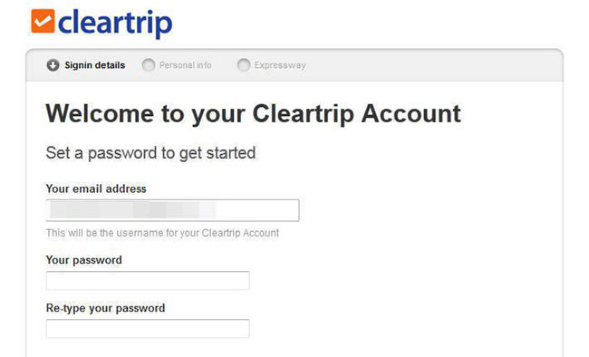 Setup your Cleartrip.com account