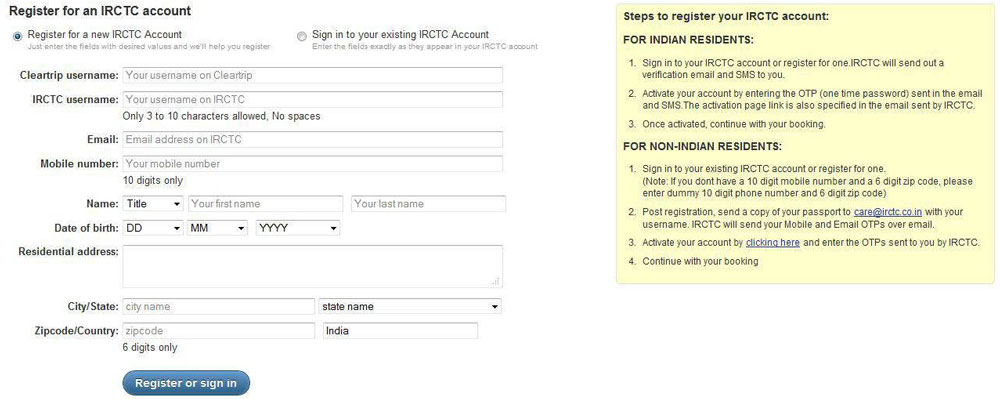 Registering for your IRCTC account through Cleartrip.com