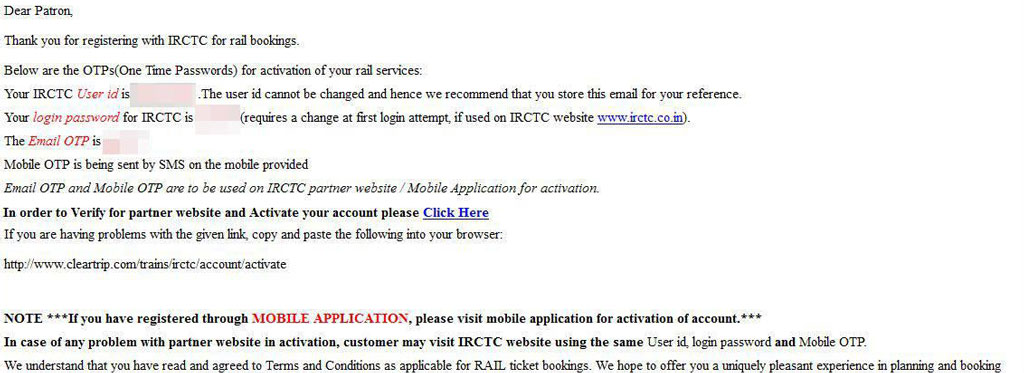 An activation email from IRCTC