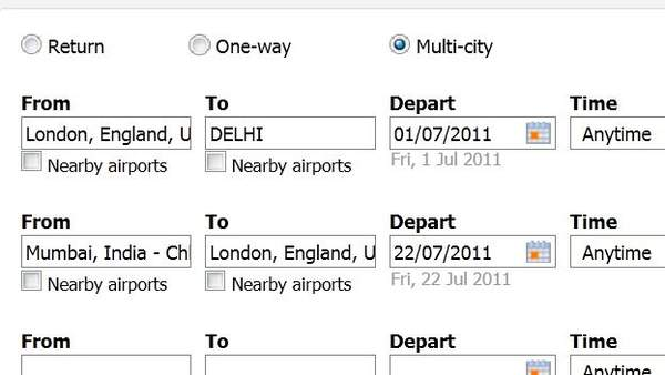 how to search for multi city flights with flexible dates